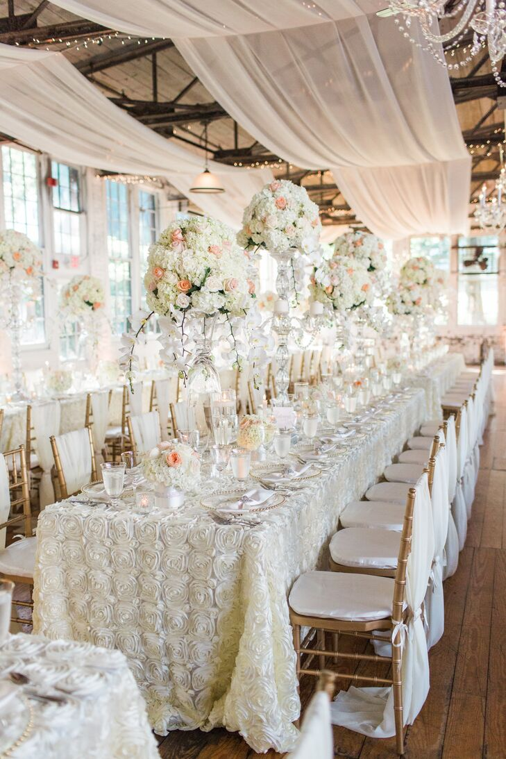 Ivory Rosette Linens and Tall Cascading Orchid Centerpieces