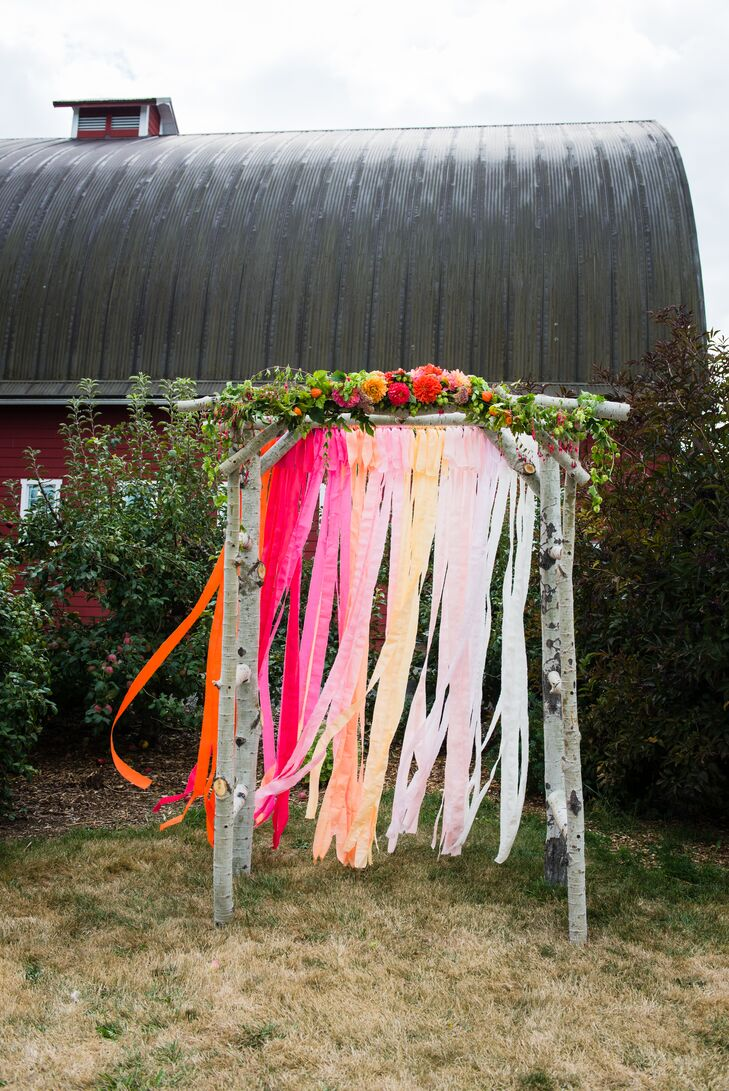 Birch Arbor with Ombre Pink and Orange Streamers