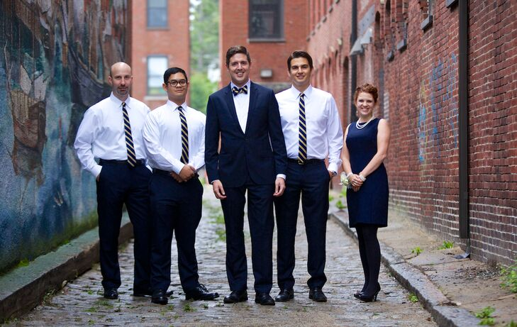 The groomsmen wore Brooks Brothers Shirts, J.Crew suiting trousers and skinny ties from The Tie Bar.