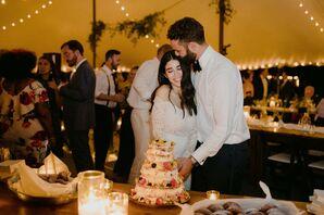 Cake Cutting with Tiered Semi-Naked Wedding Cake