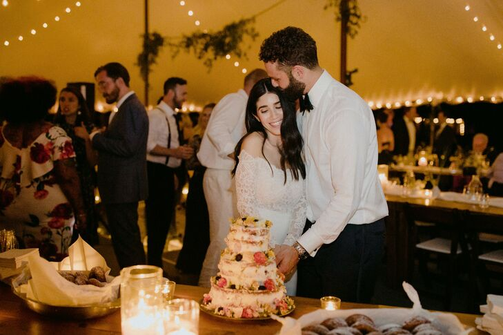 Cake Cutting with Tiered Semi-Naked Wedding Cake
