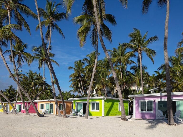 Colorful cottages on the beach with palm trees