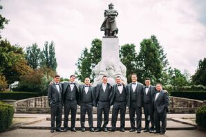 Groom With Groomsmen Standing Outside