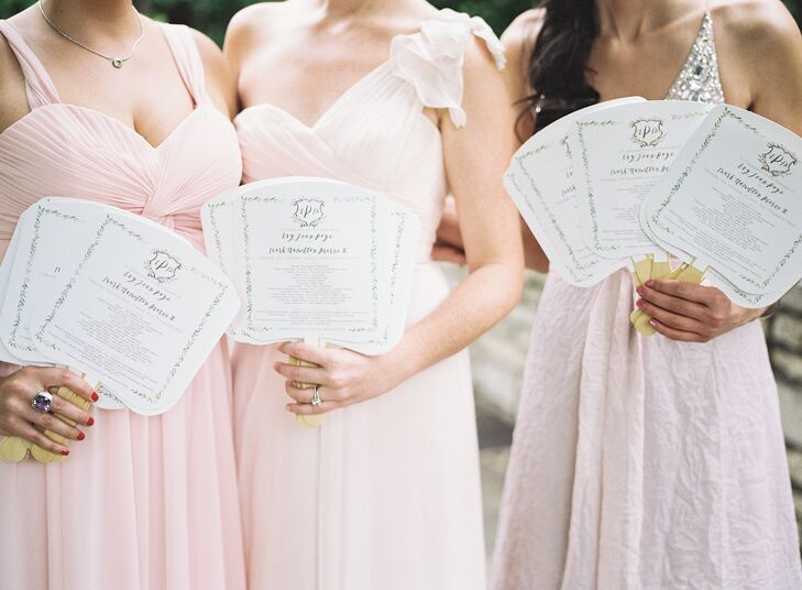 The house-party ladies wore a long blush gown of their choice, which complemented each woman. They also wore bracelets of ivy and gardenias as they handed out programs.