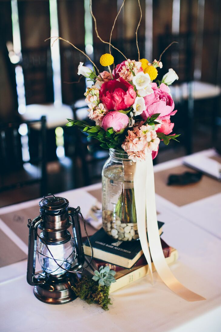 Vintage Book Centerpiece with Bright Scabiosa and Peonies