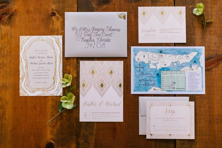 Wedding Invitations with Gold Foil Ikat