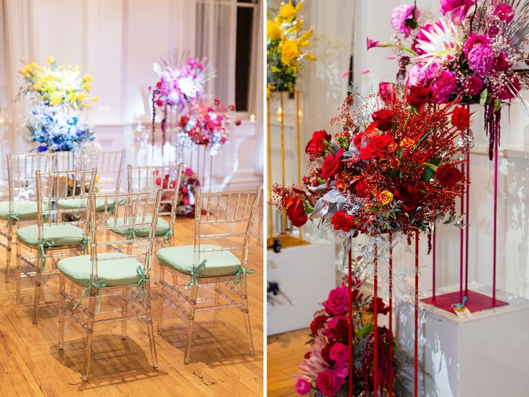 ceremony chairs and flowers at Admire & Be Inspired party