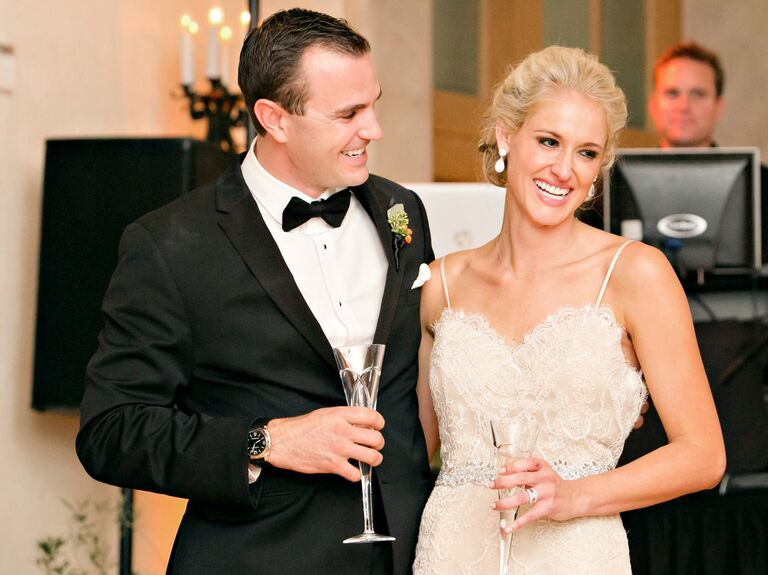 Image of: Husband Bride And Groom Laughing During Wedding Toast The Knot Best Wedding Speech Jokes Best Jokes About Marriage