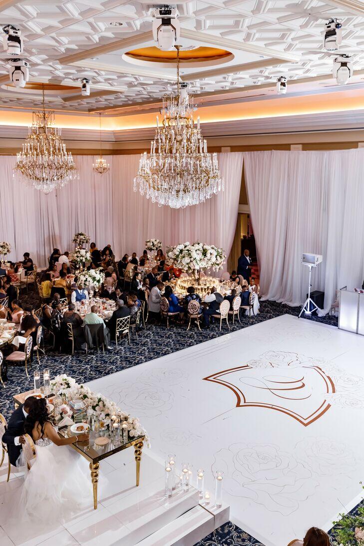 Ballroom Reception With Custom Dance Floor and Chandeliers