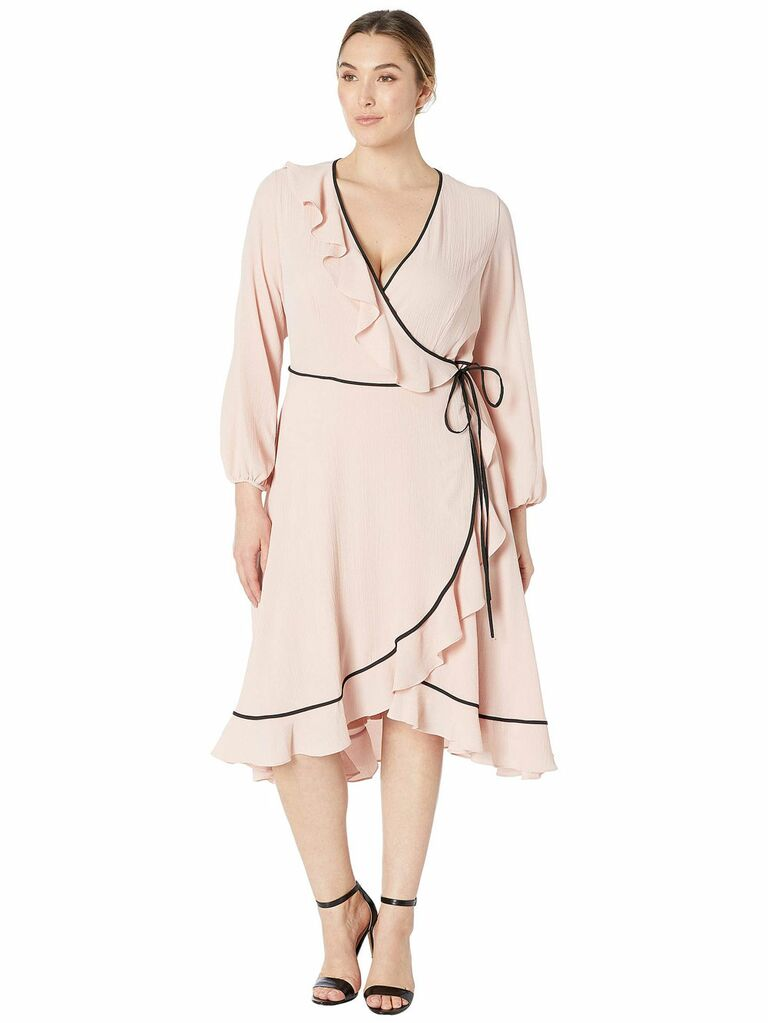 Pink wrap spring wedding guest dress
