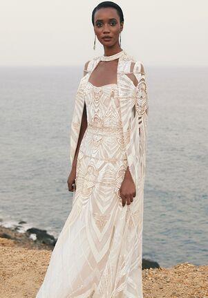CUCCULELLI SHAHEEN White Deco Borders Dress and Cape A-Line Wedding Dress