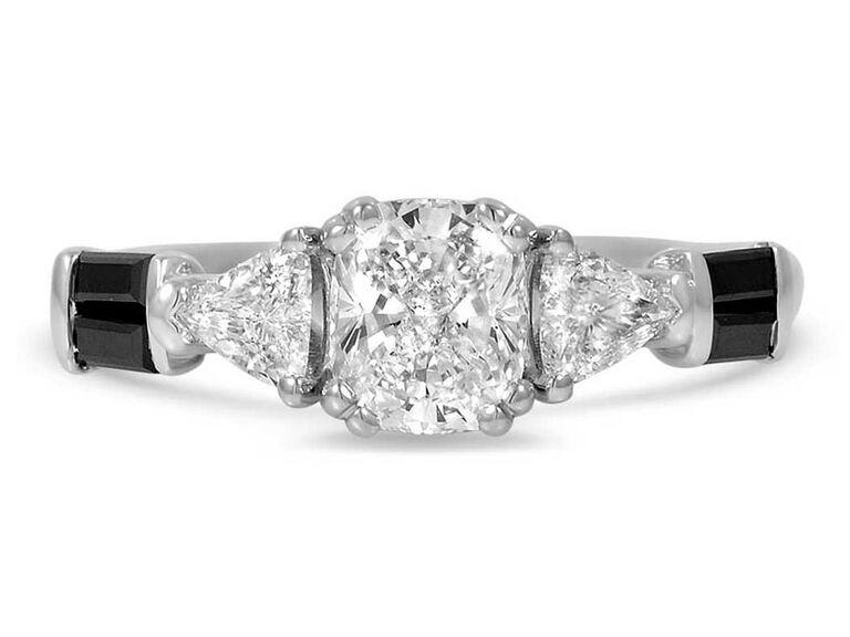 Diamond engagement ring with black diamond side stones