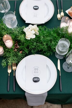 Classic Place Settings with Art Deco Menu, Place Cards and Greenery
