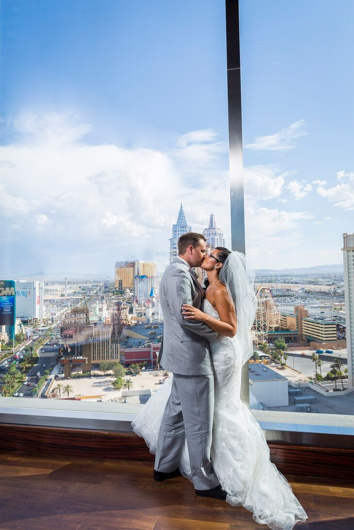 """""""We knew we didn't want a cheesy Vegas wedding,"""" the bride says. """"There's nothing wrong with that, but we wanted a classic wedding with a Vegas feel."""""""