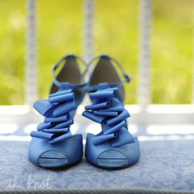 Ruffled Blue Bridal Shoes