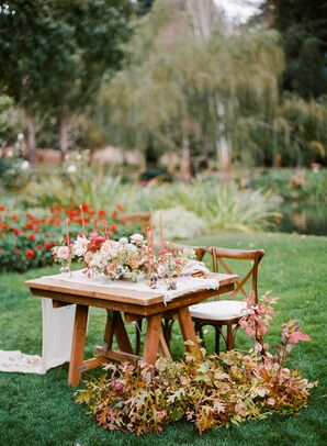Romantic Sweetheart Table with Fall Leaves and Red Candles