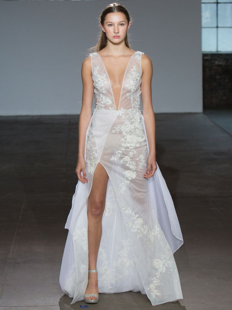 Adam Zohar Spring 2019 Collection sheer A-line wedding dress with side slit, plunging V-neck and illusion floral embroidery