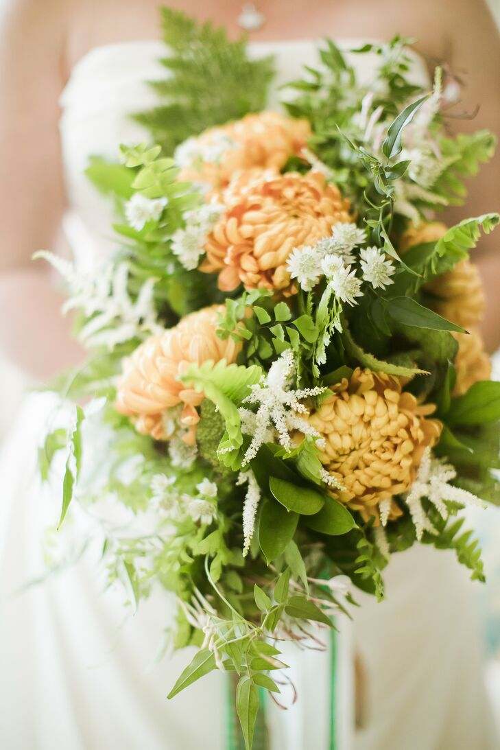 Peach Chrysanthemum and Fern Bouquet