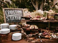 Crostini food station at wedding reception