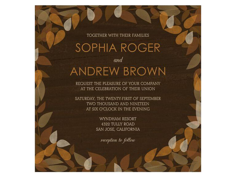 Brown foliage fall wedding invitation