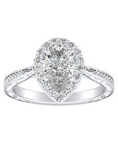 DiamondWish.com Vintage Pear Cut Engagement Ring