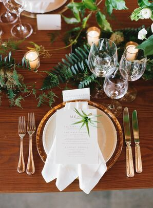 Gold and Greenery Tablescape