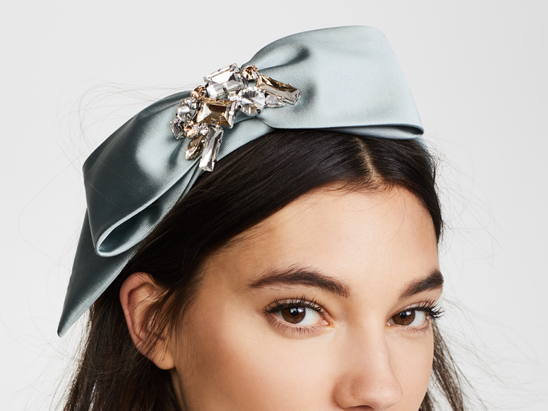 mint green headband with crystal details