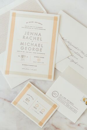 Ivory and Peach Invitation Suite