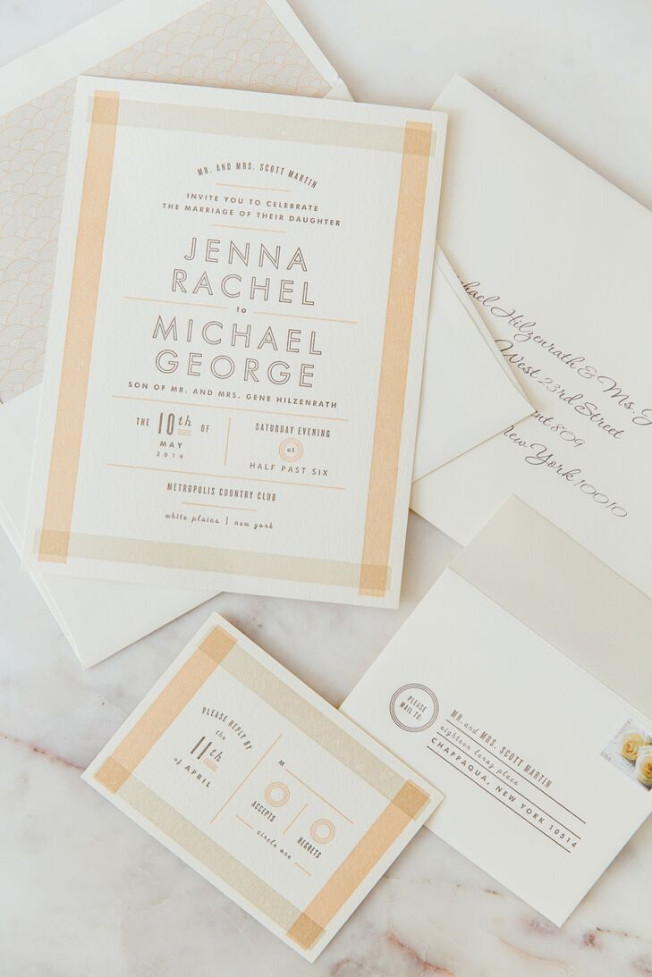 """Jenna and Mike filled their invitation suite with personal details. """"I wanted something fresh, fun and modern that stood out from the more formal script invitations I usually receive in the mail,"""" she says. With some help from Sincerely Staci, their stationery was just that with a modern take on a classic ivory, peach and off-white color palette."""