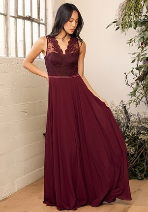 Lulus Romance is in the Air Burgundy Lace Maxi Dress V-Neck Bridesmaid Dress