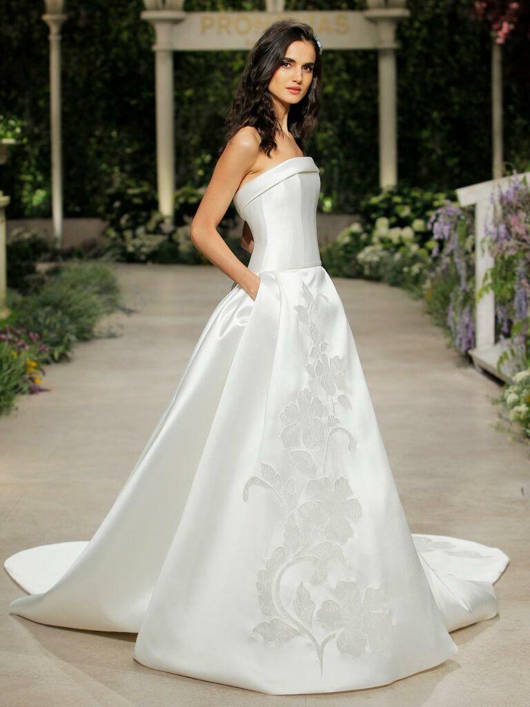 8f3d6096e98 Pronovias Spring 2019 strapless satin wedding dress with pockets