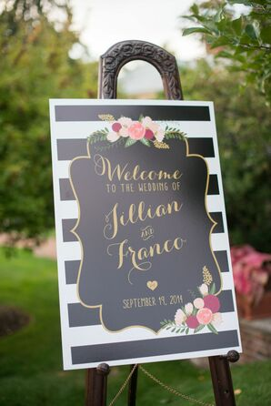 Preppy Striped Wedding Sign With Florals