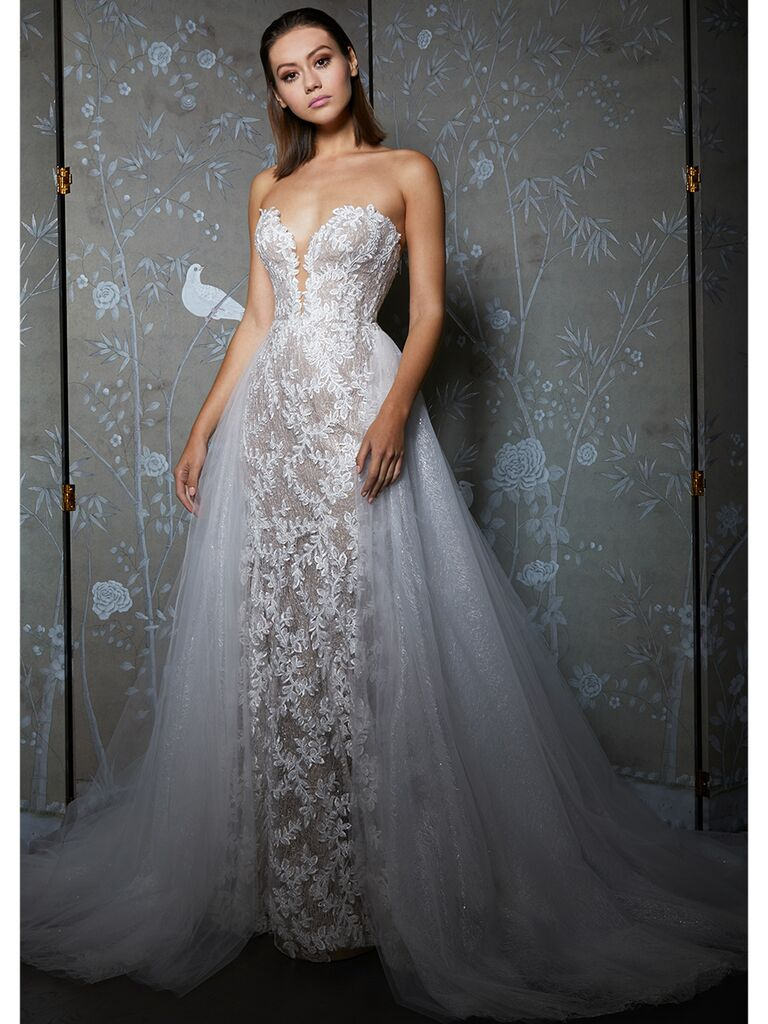 Legends by Romona Keveza wedding dress strapless a-line with tulle overskirt