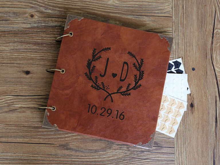 personalized leather photo album