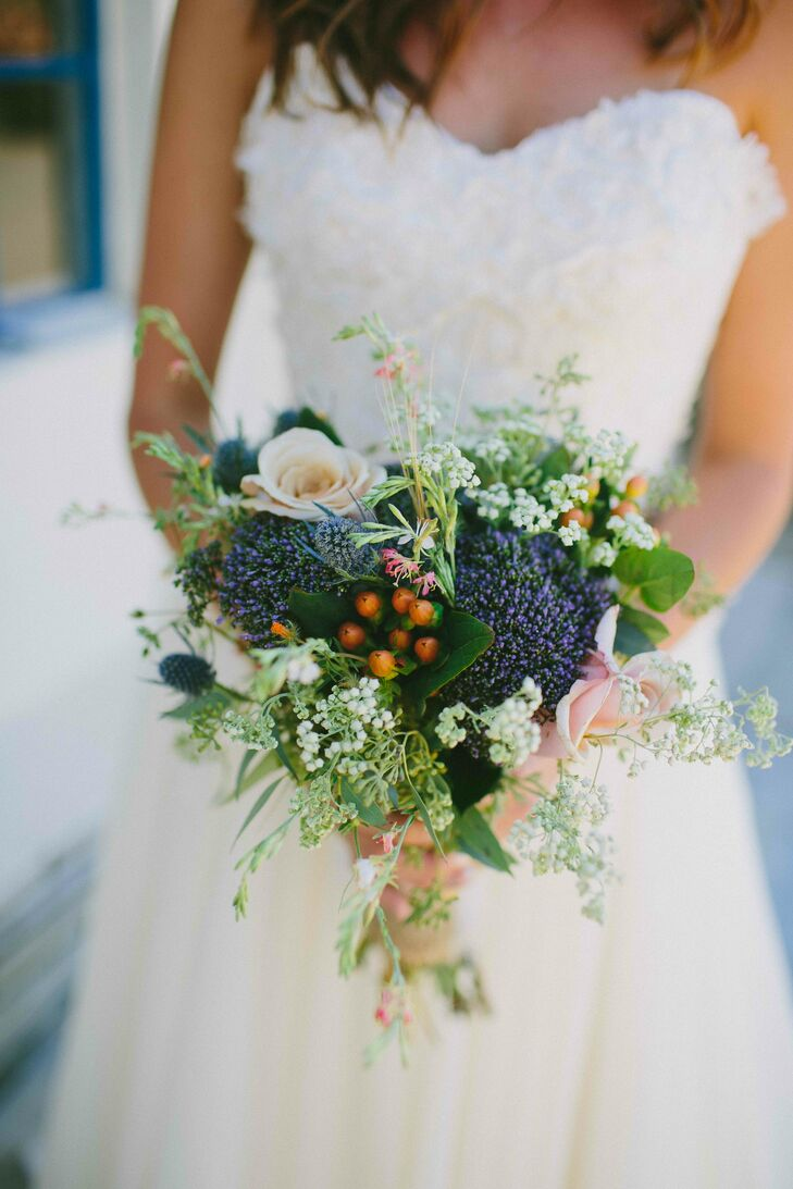 Shortly after choosing Big Bend National Park as their venue, Anna and Chris found out they were not allowed to bring in flowers. All the wedding flowers were picked up from a roadside stand just outside Big Bend. The hand-tied wildflower bouquet was full of desert colors and perfect for the natural wedding style.