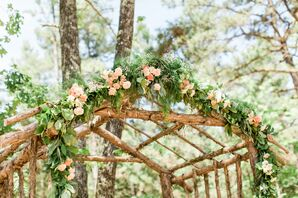 Wood Log Ceremony Arch With Greenery