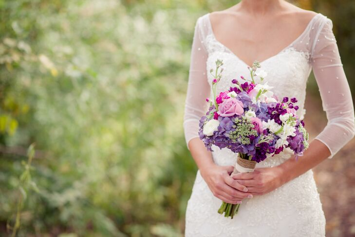 Lauren had a gorgeous, ethereal-looking bouquet of purple ranunculus, roses, and hydrangeas.
