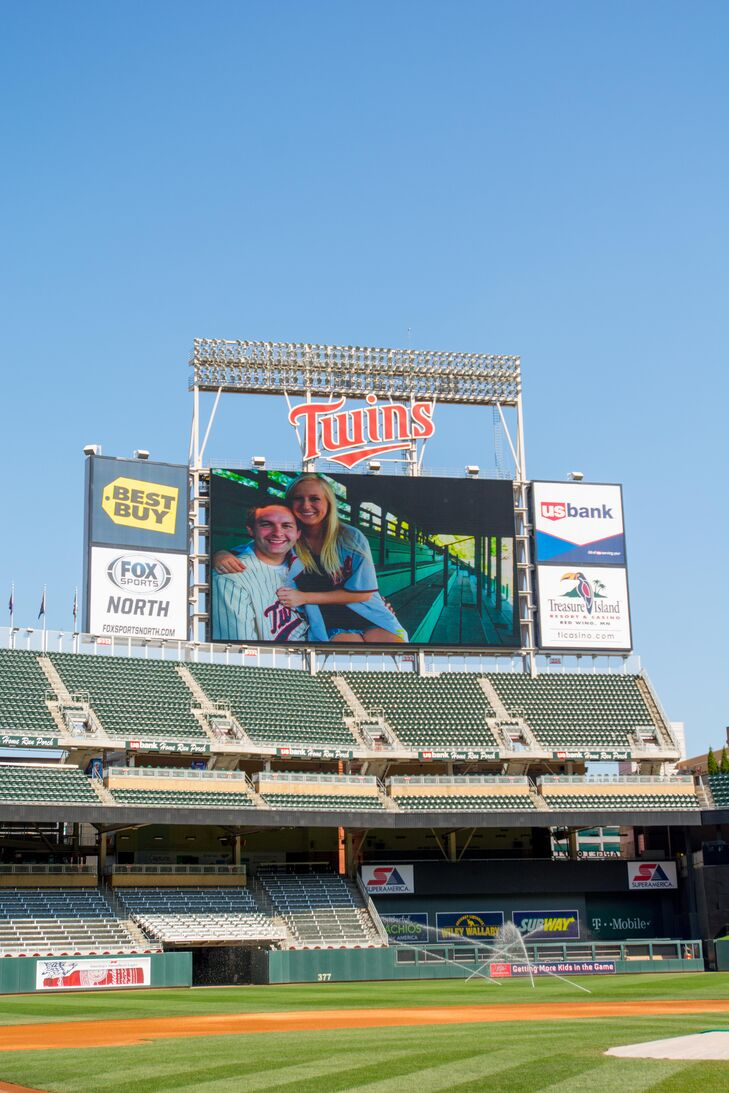 Photos of the couple were displayed on the stadium's Jumbotron.