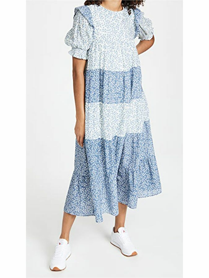 Blue and white tiered floral cottagecore midi dress with puff sleeves