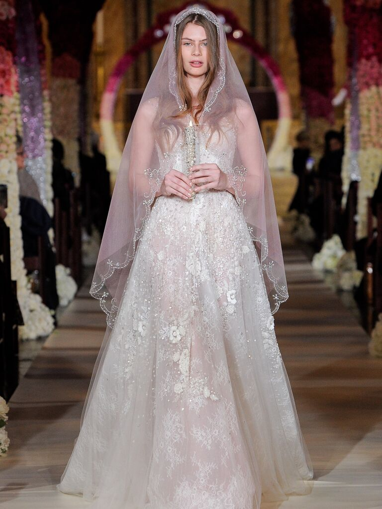 Reem Acra Spring 2020 Bridal Collection lace A-line wedding dress with veil