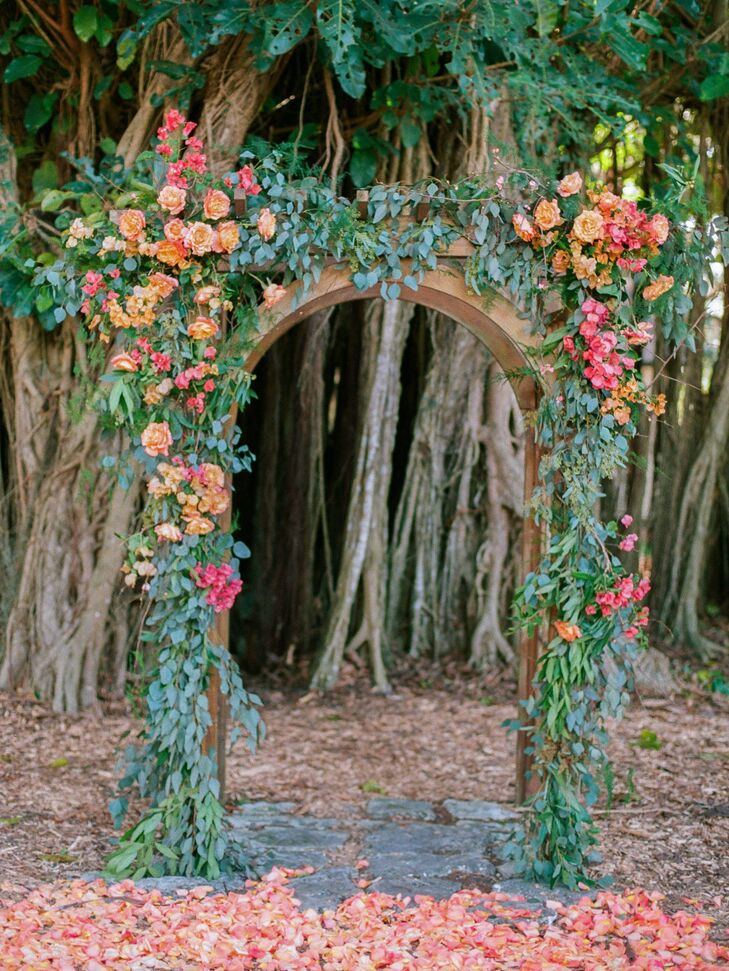 Bright Whimsical Eucalyptus and Rose Wedding Arch