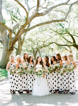 Black-and-White Bead- and Tassel-Embellished Bridesmaid Dresses