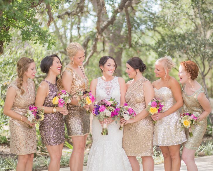 e11296bb668 Short Gold Sequin Bridesmaid Dresses and Pink and Yellow Bouquets