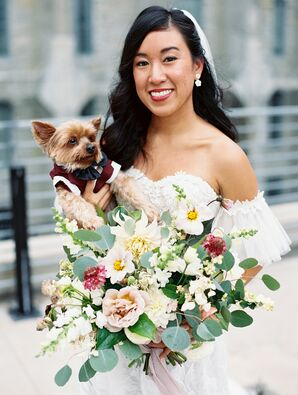 Bride Holding Dog in Suit for Wedding at Machine Shop in Minneapolis, Minnesota