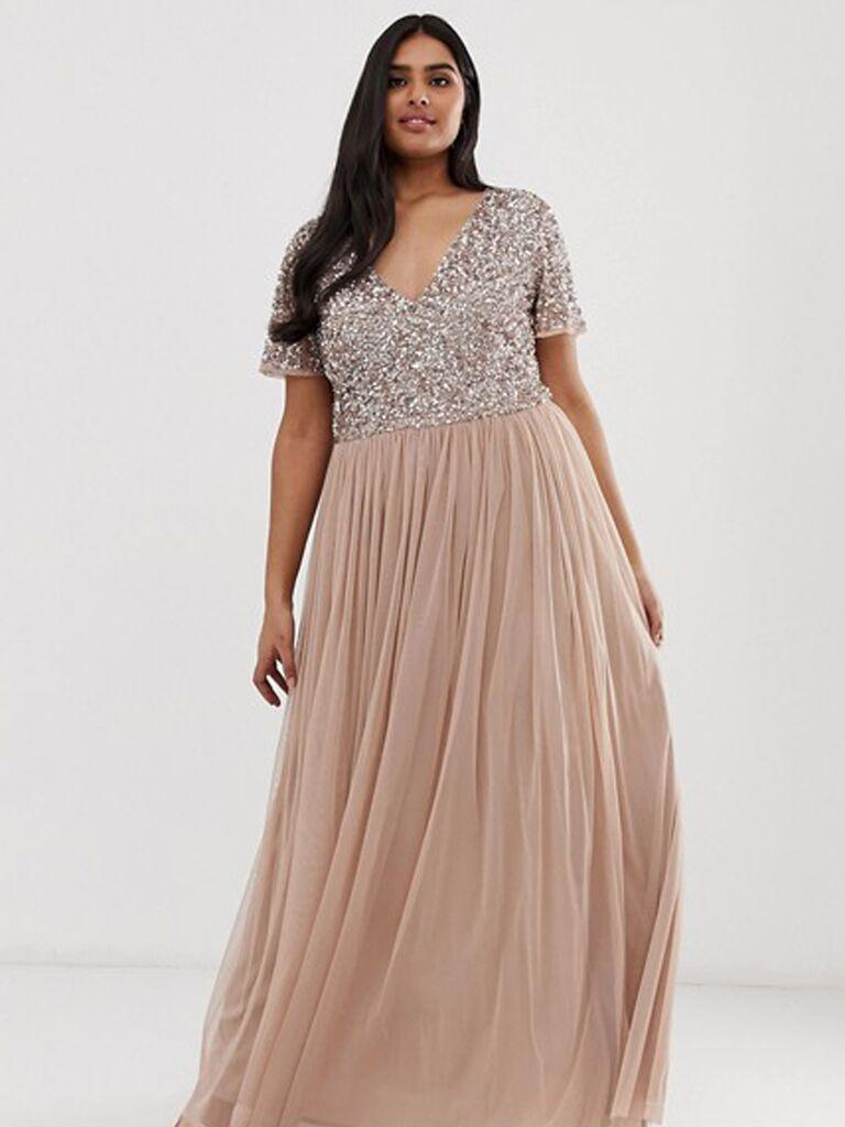 Blush sequin plus size bridesmaid dress