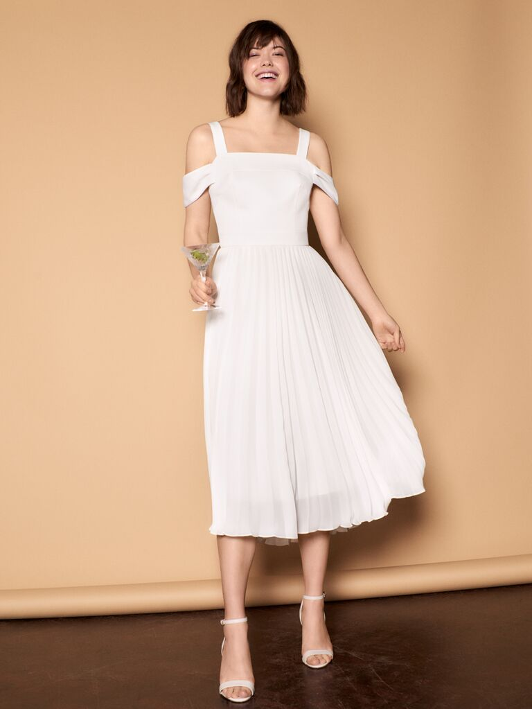 Whistles Wedding 2019 Bridal Collection pleated cocktail dress with cold shoulder detail