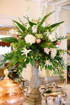 Large Ivory and Pink Floral Arrangements with Lush Greenery