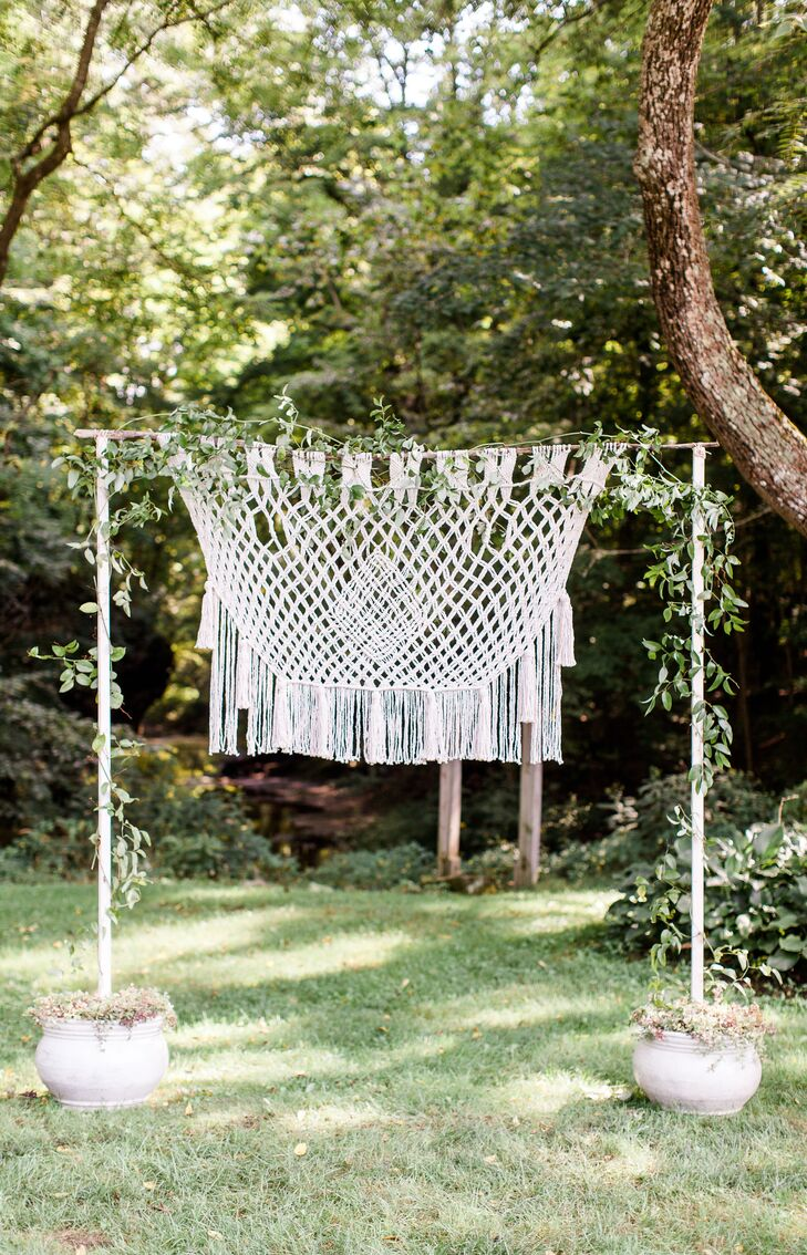 Outdoor Ceremony with Macrame Altar