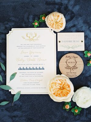 Gold Letterpress Invitations with Antler Monogram