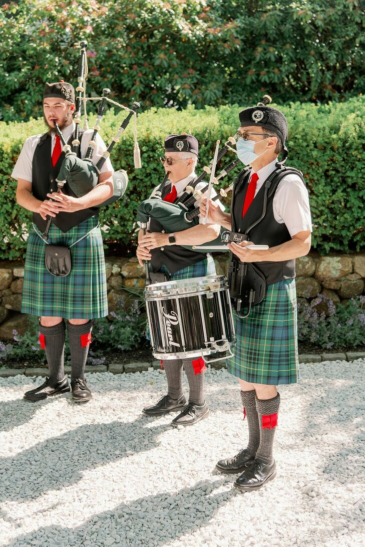 Bagpipe Performers at Microwedding in Cape Cod, Massachusetts